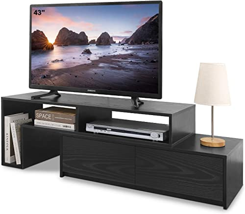 WLIVE Modern TV Stand with 2 Storage Drawers, 2 Pieces Adjustable Entertainment Media Console Center for Home Living Room, Fits 40 60 Inches Screen