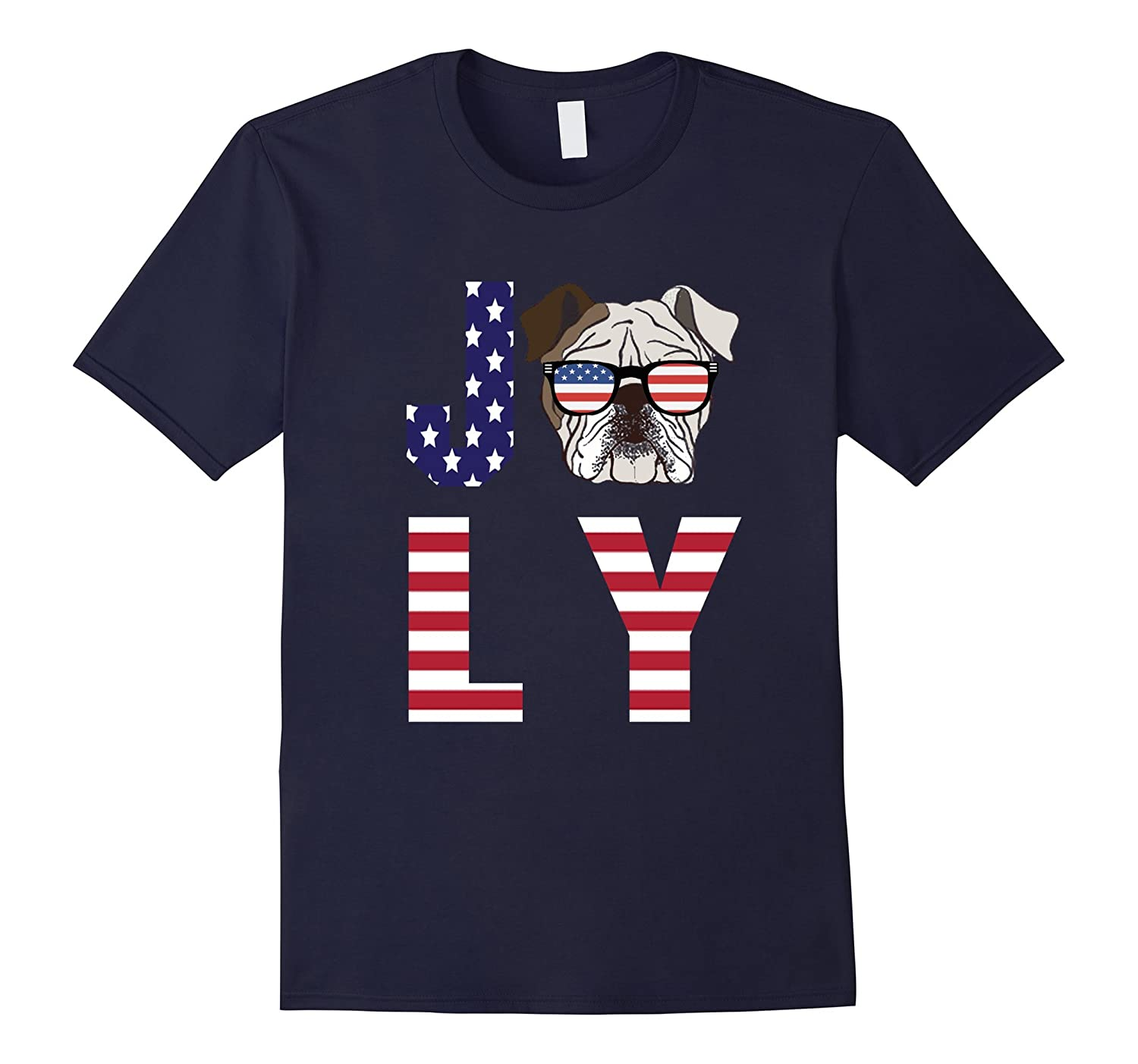 4th of July - Bulldog American Flag Dog Funny T-Shirt-TH