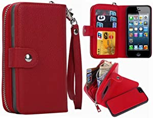 Hynice iPhone 5/5S/SE Wallet Case, iPhone 5/5S/SE Wallet Purse Case Leather Zipper Case with Credit Card Slots and Magnetic Detachable Slim Cover for iPhone 5/5S/SE (Litchi-red)