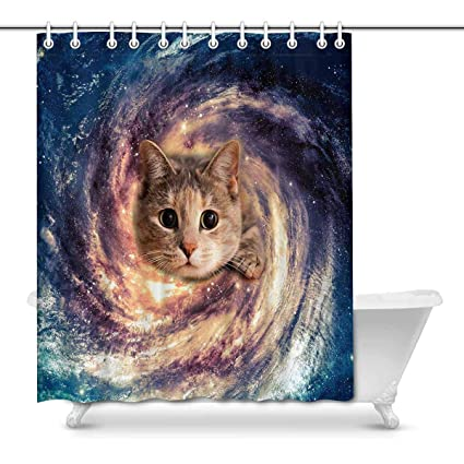 Image Unavailable Not Available For Color INTERESTPRINT Galaxy Space Cat Bathroom Shower Curtain
