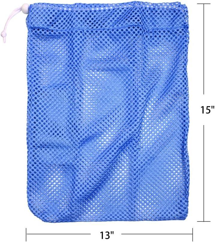 2 pcs Heavy Duty Laundry Nylon Mesh Stuff Sack Bag with Sliding Drawstring Cord Lock Closure