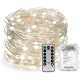 YIHONG Fairy Lights Fairy String Lights Battery Operated Waterproof 8 Modes Remote Control 120 LEDs 39ft Copper Wire Firefly Lights Bedroom Patio Party Christmas Decor-Daylight White