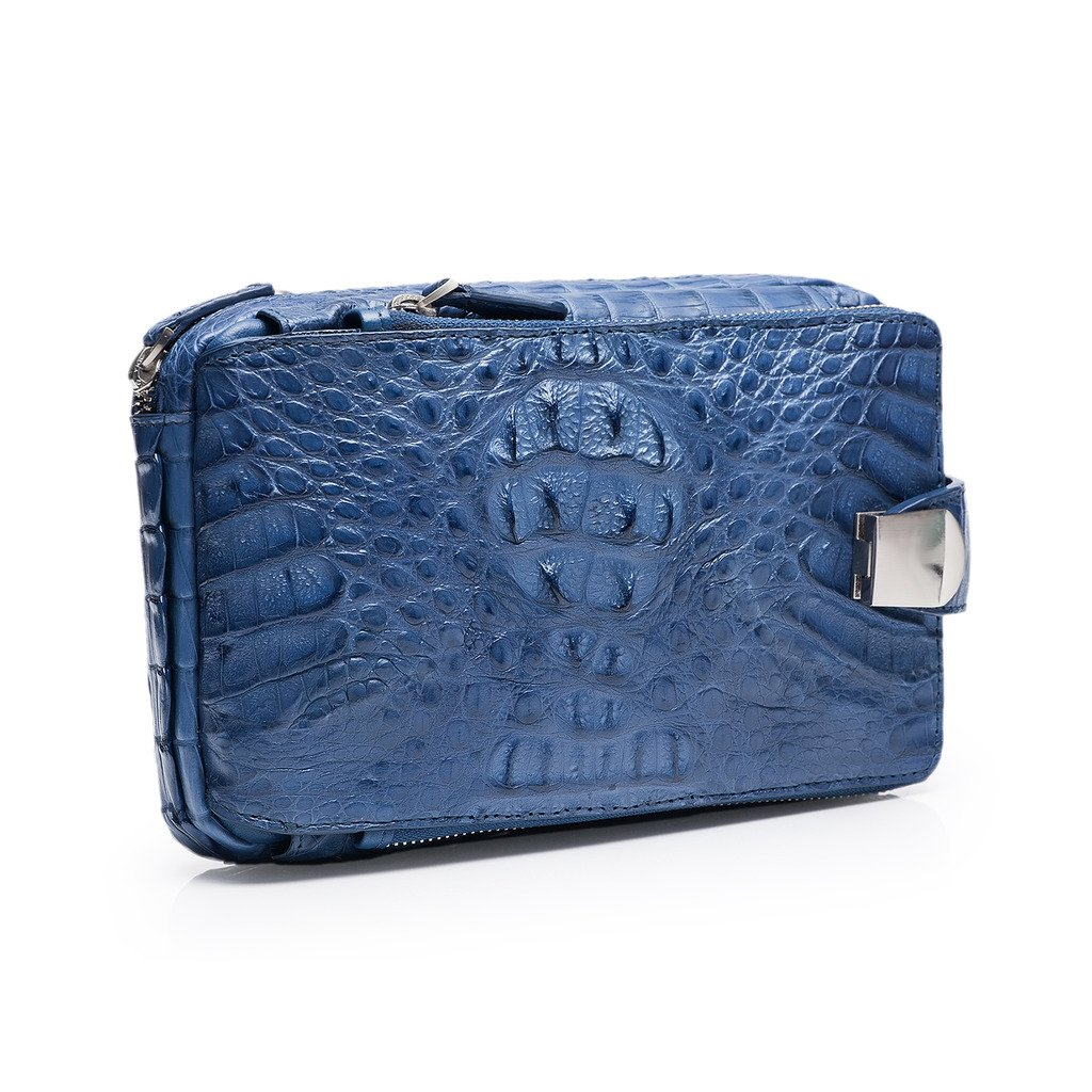 ZRO Men's Portable Crocodile Leather Short Wallets Large Capacity Clutch BLUE