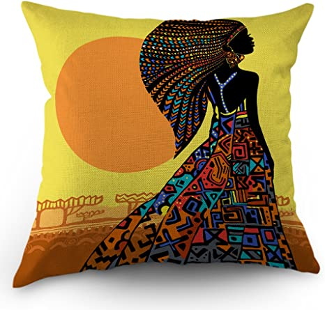 Moslion African Pillow Cover African Woman In A Bohemian Dress Ethnic Throw Pillow Case 18x18 Inch Cotton Linen Square Cushion Decorative Cover Sofa Bed Yellow Black Home Kitchen