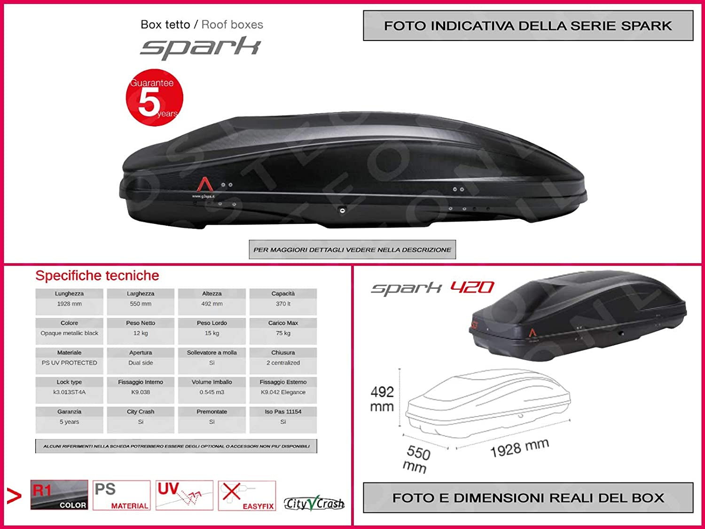 Proposteonline portabagagli Box Tetto Auto 192 x 55 x 49 cm per Citroen c3 Picasso 2009  con Barre Portapacchi portatutto rm79ss