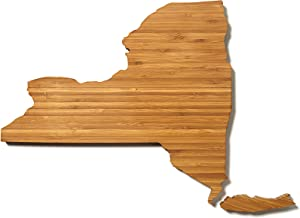 """AHeirloom: The Original New York State Shaped Serving & Cutting Board. (As Seen in O Magazine, Good Morning America, Real Simple, Brides, Knot.) Made in the USA from Organic Bamboo, Large 15"""""""