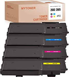 MYTONER Compatible Toner Cartridge Replacement for Dell C2660 593-BBBU 593-BBBT 593-BBBS 593-BBBR for Dell C2660 C2660dn C2665dnf (Black Cyan Magenta Yellow, 4-Pack)