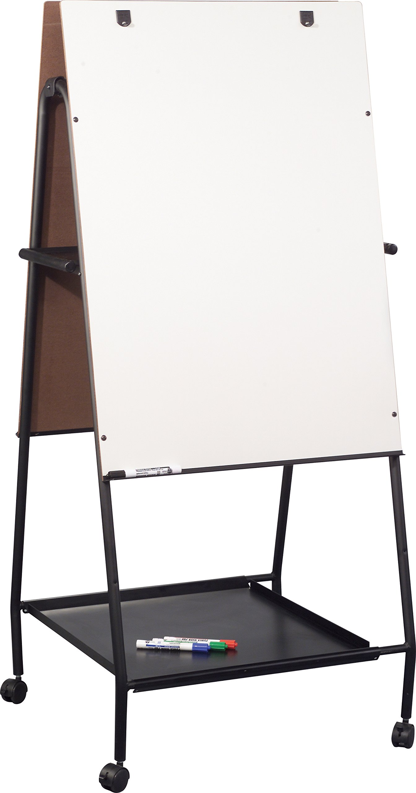 Best-Rite Mobile Folding Wheasel with Tray, Double Sided Whiteboard Easel (778OT)