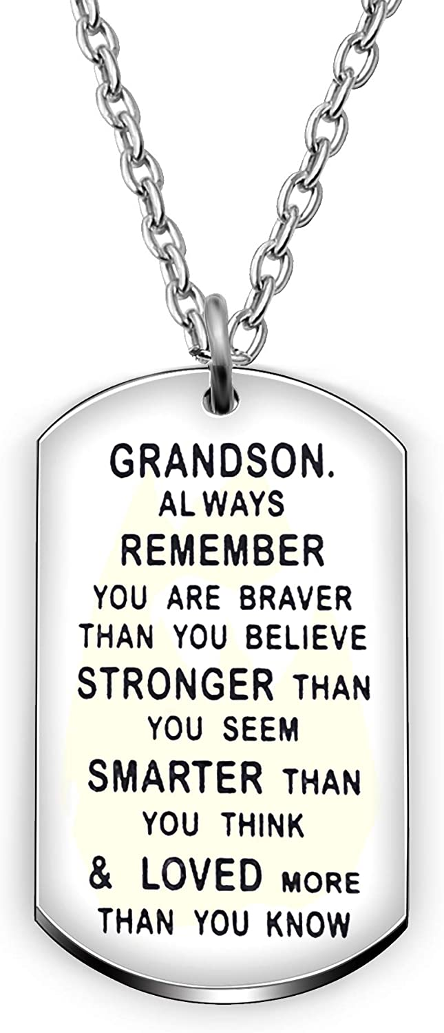 AGR8T Grandson Pendant Necklace Birthday Dog Tag Gifts for Men Boy You are Braver Stronger Smarter Than You Think