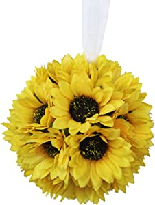Lily Garden Artificial Calla Lily Sunflower and Peony Flower Wedding Bouquets (6 Inch Pomander)