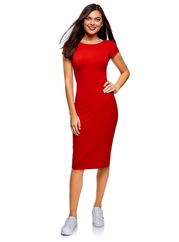 Red (4501n) oodji Collection Women's Scoop Back Midi Dress