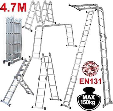 Escalera plegable de aluminio multifunción 14 en 1 de 4,7 m: Amazon.es: Bricolaje y herramientas