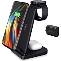 Mclaurin Wireless Charger 3 in 1,15W Wireless Charger Station for Apple Products,Fast Wireless Charger Stand with QC 3.0…