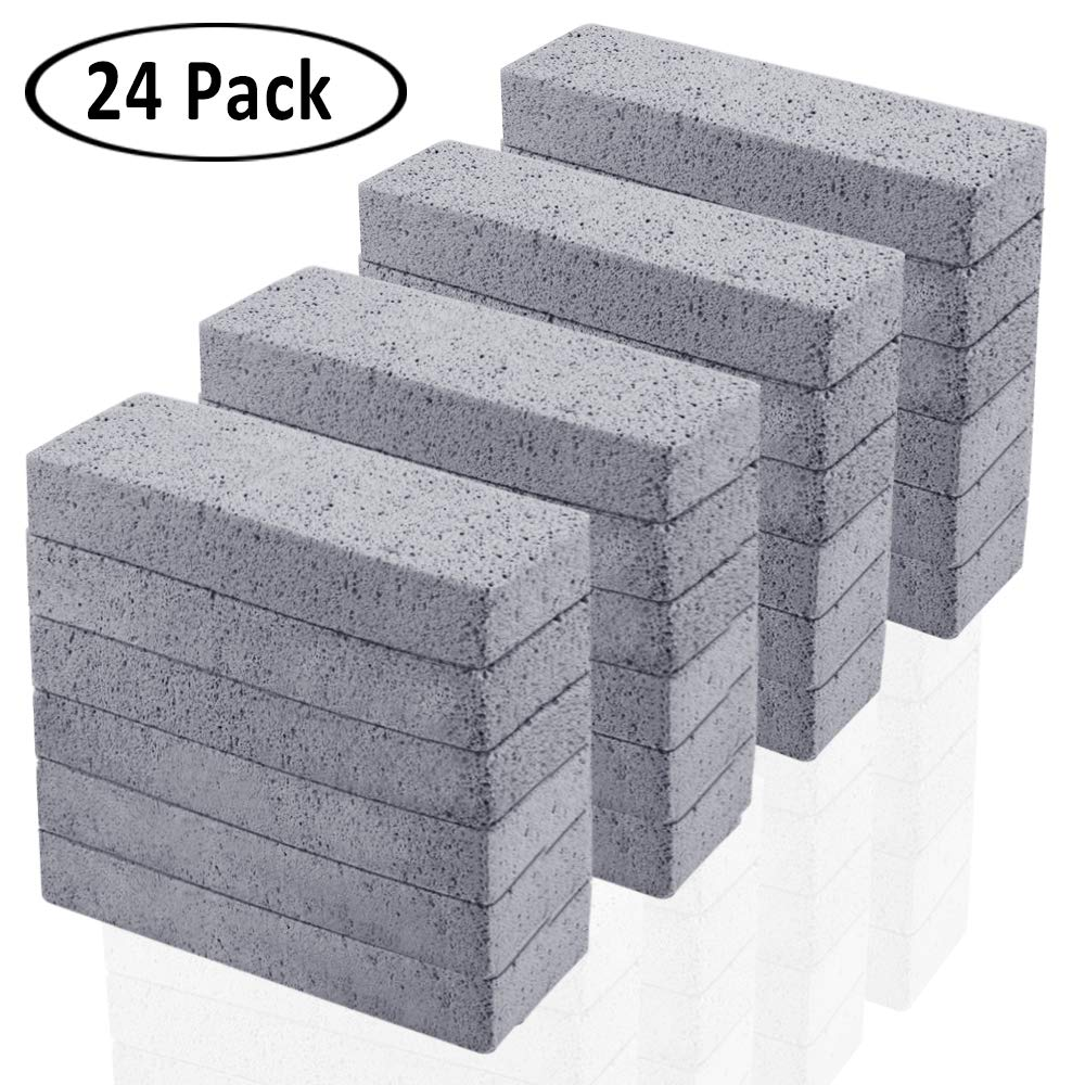 24 Pack Pumice Stone for Cleaning, Pumice Scouring Pad, Toilet Bowl Ring Remover Pumice Stick Cleaner for Kitchen/Bath/Pool/Household Cleaning, 5.9 x 1.4 x 0.98 Inch by Kulannder