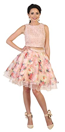 May Queen MQ1491 Floral Print Two Piece Prom Dress at Amazon Womens Clothing store:
