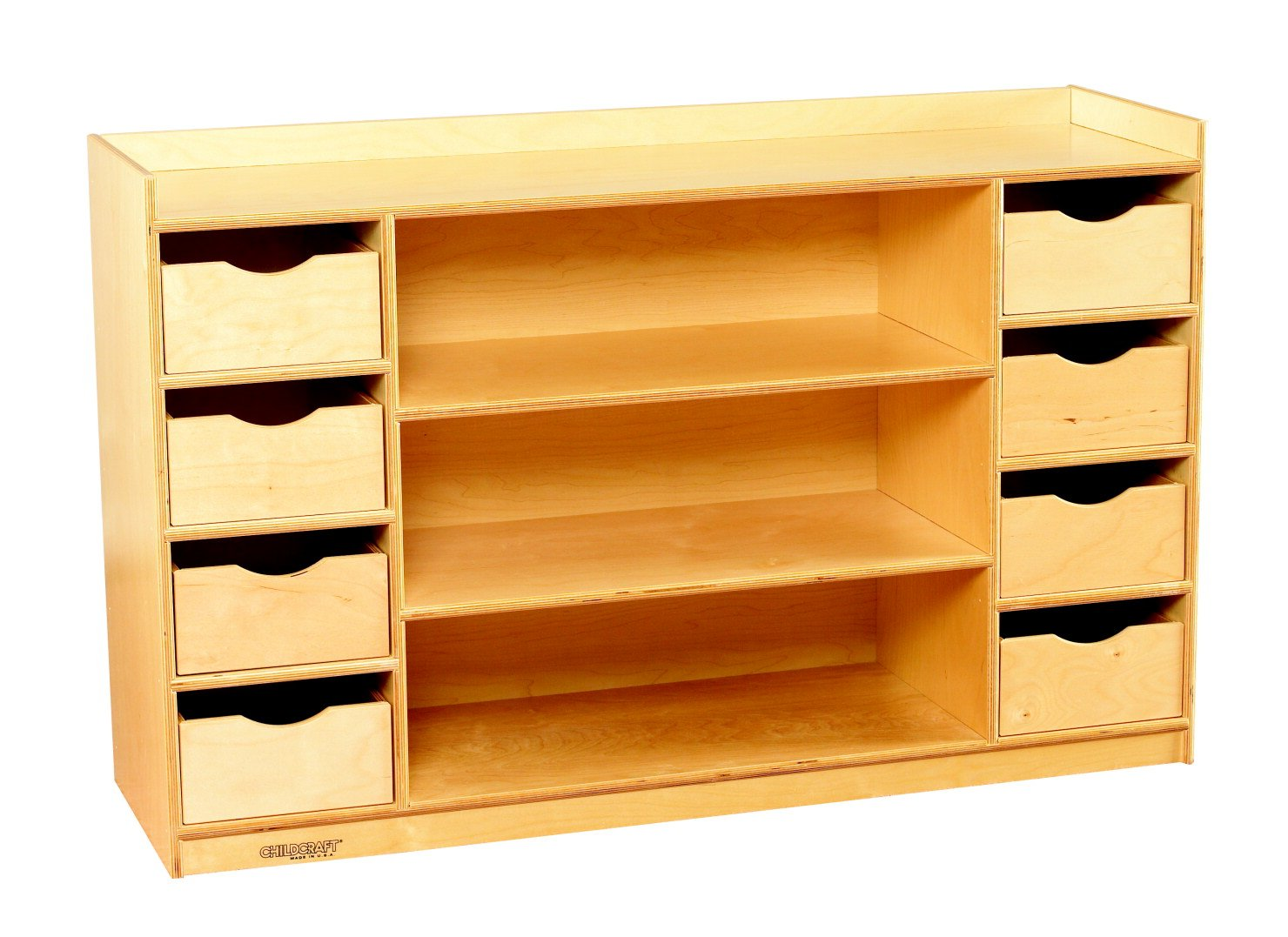 Childcraft 1464417 Storage Chest with 8 Drawers, Wood, 47-3/4'' x 14-1/4'' x 30'', Natural Wood Tone