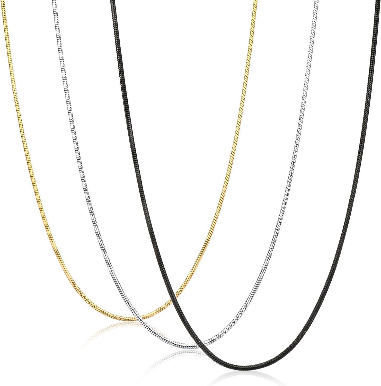 sailimue 3PCS 0.9mm Acier Inoxydable Collier pour Homme Femme Cha/îne Serpent Collier Ensemble 35-91cm