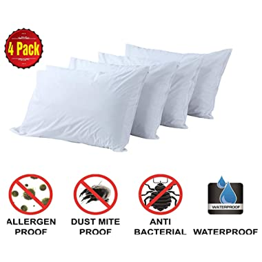 Pillow Protectors Standard 4 Pack 100% Waterproof Anti Allergy Bed Bug Dust Mite Proof 💜Life Time Replacement 💜Smooth Polyester Jersey Fabric Zipp Encasement Hypoallergenic Covers Cases Set White