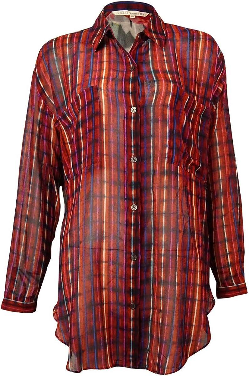 RACHEL Rachel Roy Mixed-Print Tunic Blouse