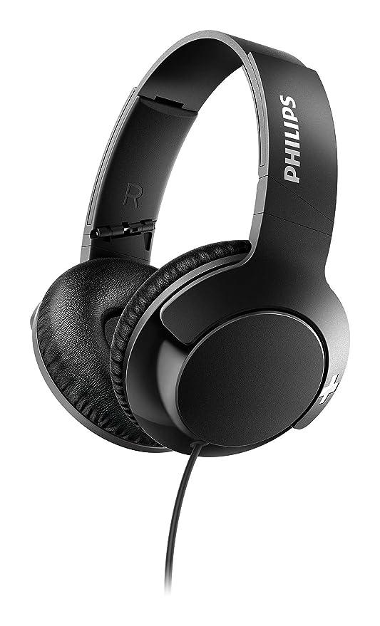 Philips Bass+ SHL3175BK - Auriculares con micrófono, Cable, Bajos potentes, Plegables, Ligeros