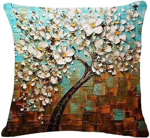 Fossrn Fundas de Cojines Almohada Vintage Floral Hojas Árboles Funda de Cojines para Sofa Jardin Cama Decorativo - 45x45 cm (05): Amazon.es: Hogar