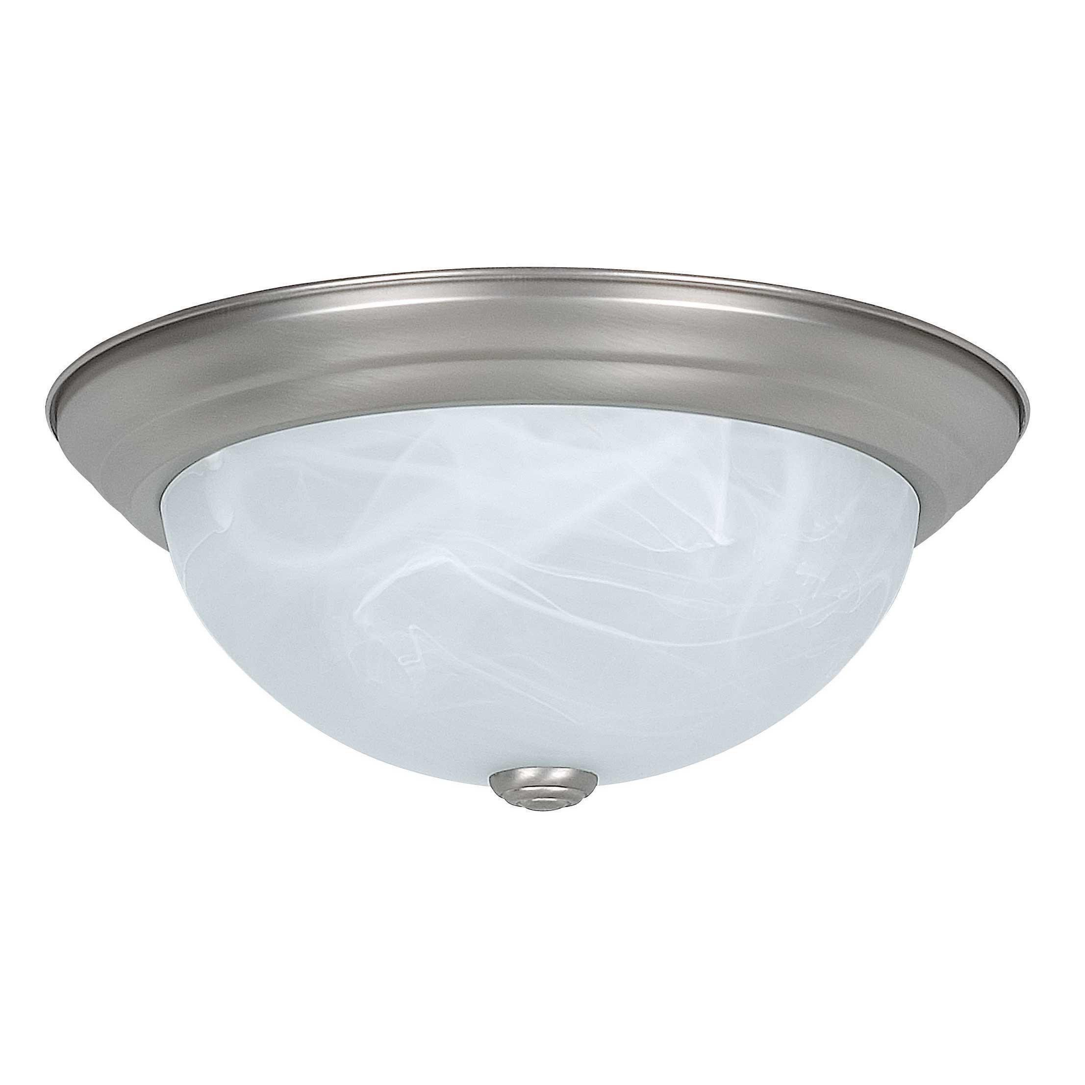 Sunset Lighting F7632-53 Flush Mount with Faux Alabaster Glass, Satin Nickel Finish