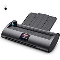 ABOX Laminator Machine, Professional Thermal A4 Laminator Pixseal Ⅱ with Feeding Tray, Trimmer, Corner Rounder, 20 Laminating Pouches, Black