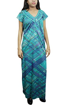 Indiatrendzs Women Long Maxi Dress Hosiery Green Blue Nightgown L  Amazon.in   Clothing   Accessories f7ddfccf6