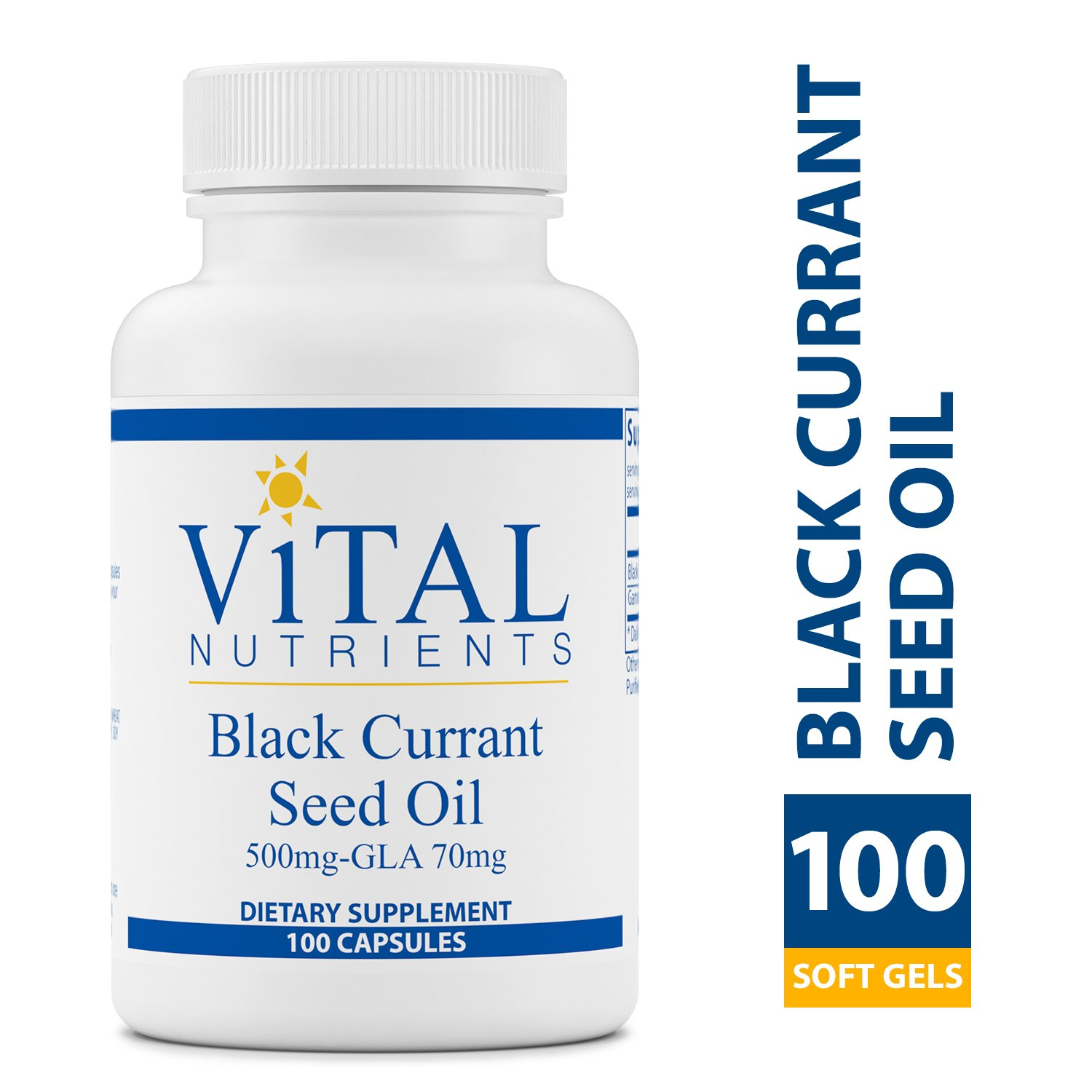 Vital Nutrients - Black Currant Seed Oil - Essential Omega 6 Fatty Acid - Contains Gamma Linolenic Acid (GLA) - Cartilage, Joint, & Nerve Function Support - 100 Softgel Capsules per Bottle by Vital Nutrients