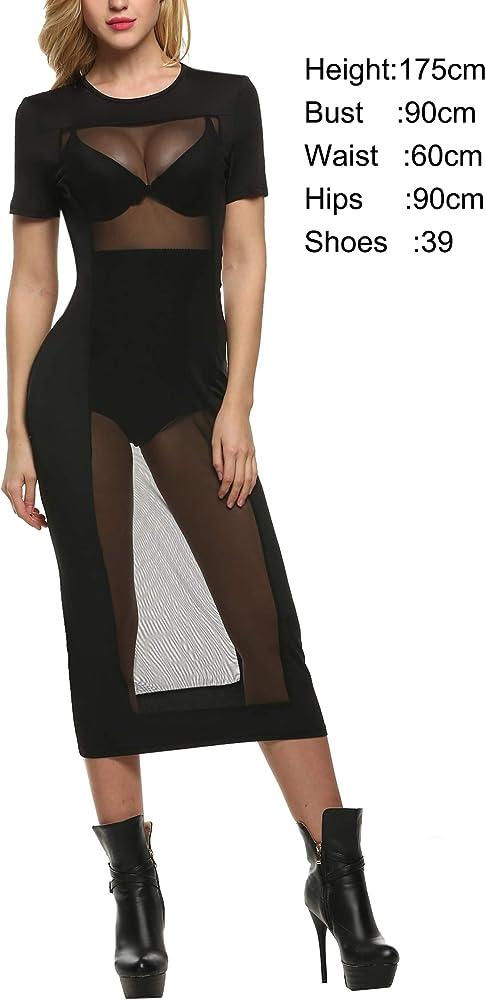 eca58bcb61c3a Zeagoo Women's Sexy Low Cut See Through Sleeveless Long Maxi Dress ...