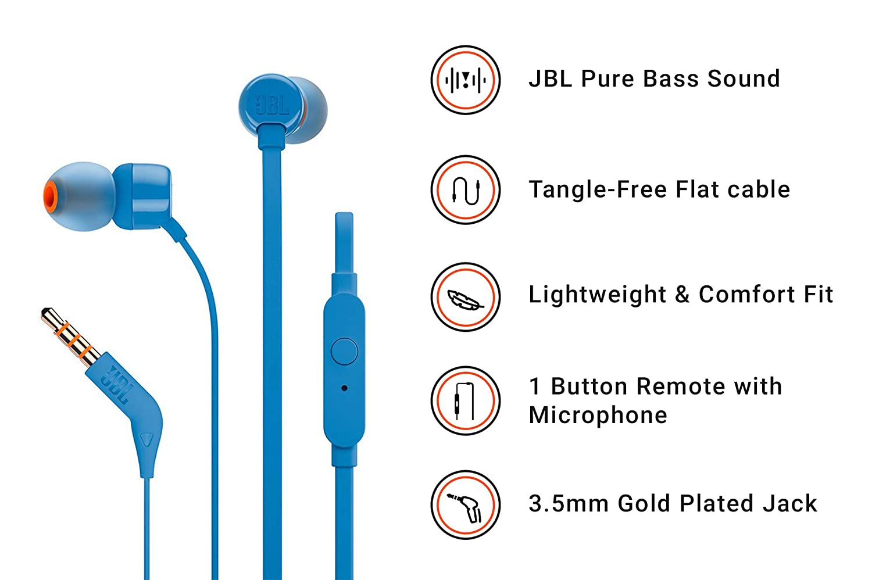 94d2cf33186 JBL T160 in-Ear Headphones with Mic (Blue): Buy JBL T160 in-Ear Headphones  with Mic (Blue) Online at Low Price in India - Amazon.in