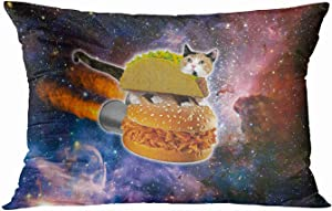 Tarolo Decorative Pillow Case Cover Flight Funny Taco Cat Riding Hamburger in Space Pillowcase Home Decor Throw Pillow Cases Covers Protector Best Pillow Cover 20x30 Inches Two Sided Print