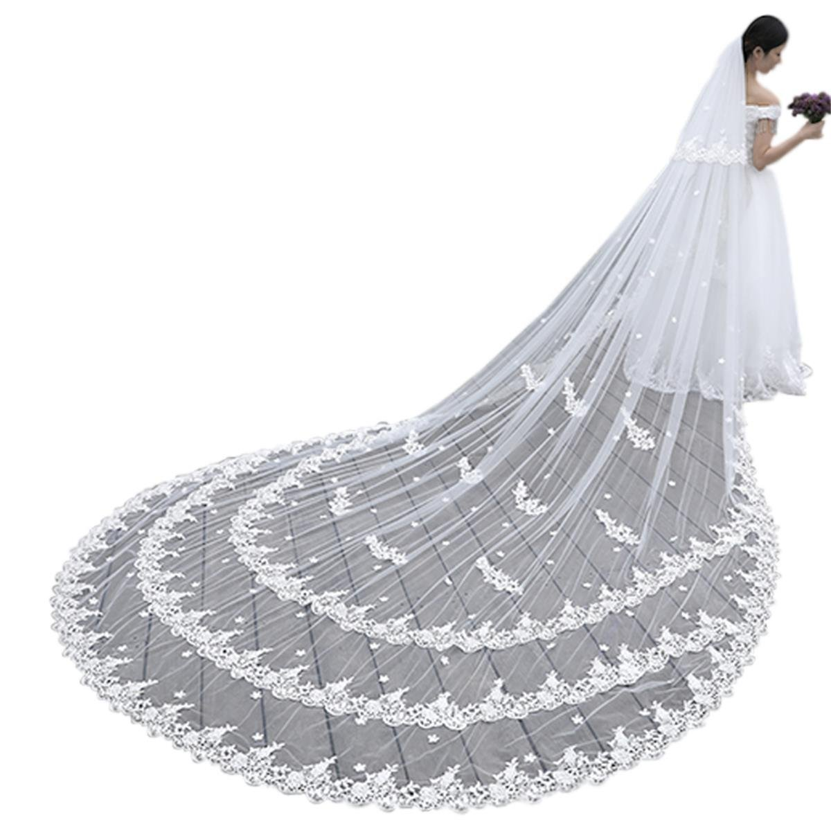 Wedding Bridal Veil 4M 2T Lace Applique Edge Long With Free Comb (Ivory)