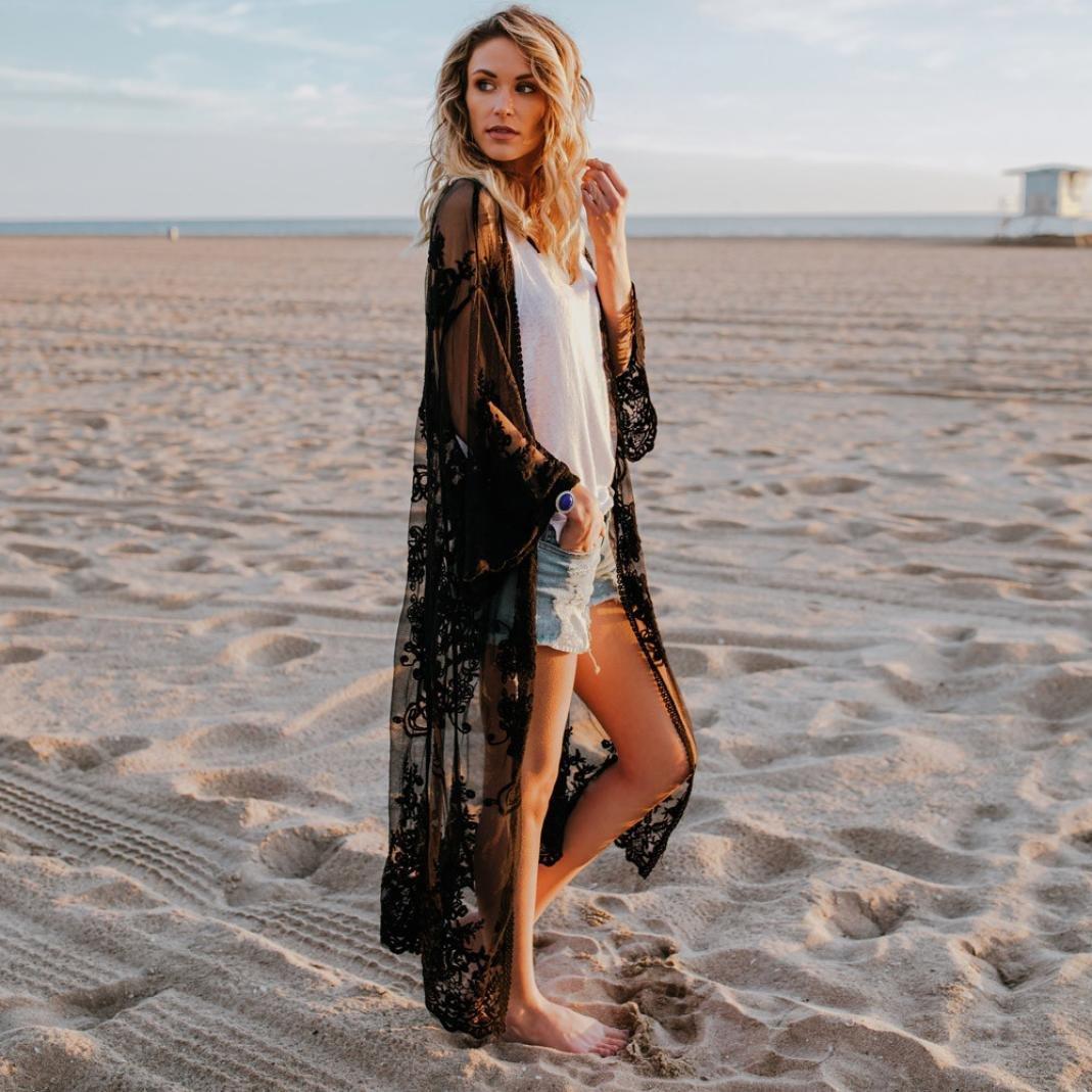 c0e396b7ff8 Cárdigans para mujer florales encaje cardigan largos de la playa bohemia mujer  primavera verano tallas grandes Kimono ...