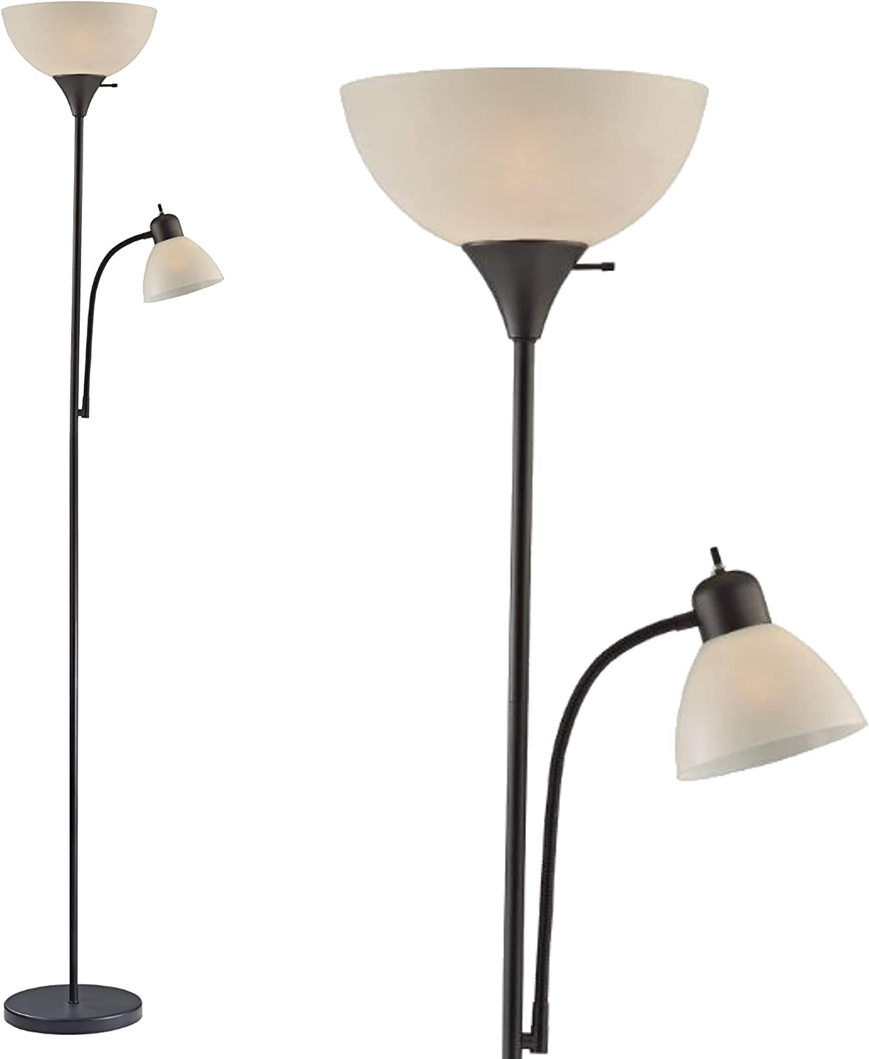 "Adjustable Floor Lamp with Reading Light by Light Accents - Susan Modern Standing Lamp for Living Room/Office Lamp 72"" Tall - 150-watt with Side Reading Light Corner Lamp (Black) - -"
