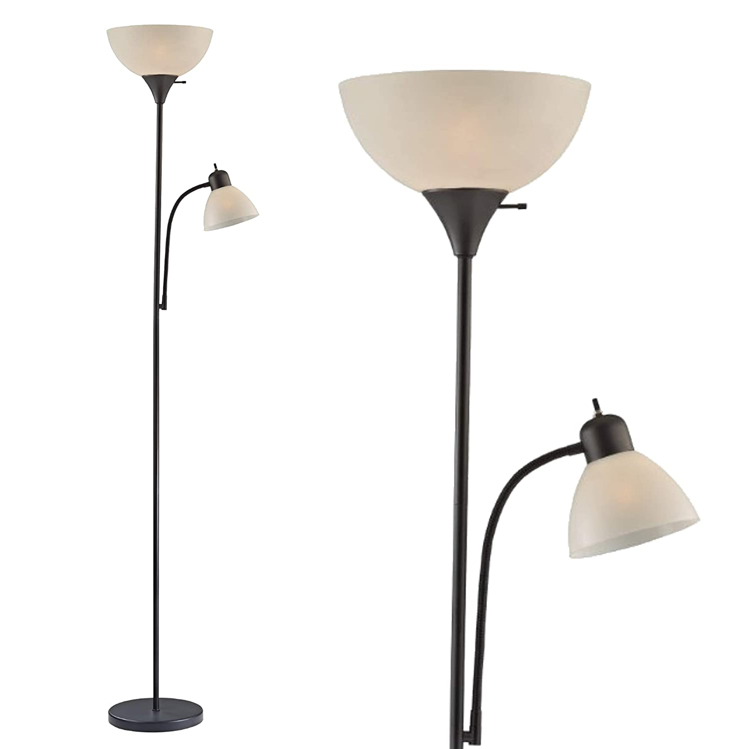 "Light Accents SUSAN Floor Lamp 72"" Tall - 150-Watt with Side Reading Light (Black)"