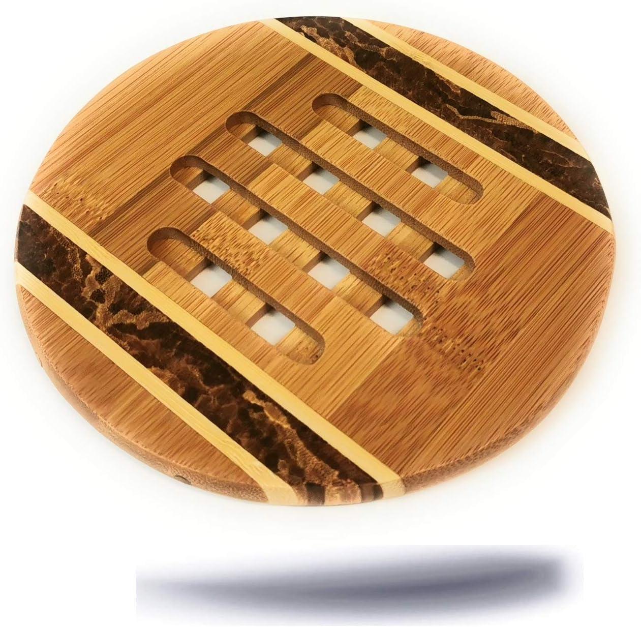 Kerafactum - Elegante posavasos decorativo de madera natural de bambú, redondo, diámetro de 16 cm, para macetas, jarrones, calderas, salvamanteles de bambú, madera de bambú