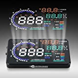 AUTOLOVER A8 5.5 inch OBD II Car Windshield HUD Head Up Display with Speed Fatigue Warning RPM MPH Fuel Consumption