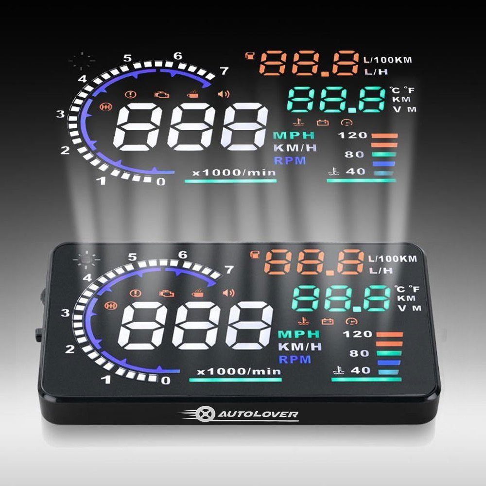 Amazon.com: AUTOLOVER A8 5.5 inch OBD II Car Windshield HUD Head Up Display  with Speed Fatigue Warning RPM MPH Fuel Consumption: Automotive