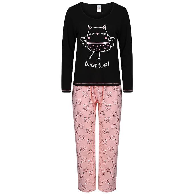 Pijama de manga larga para mujer, algodón, diseño de bú