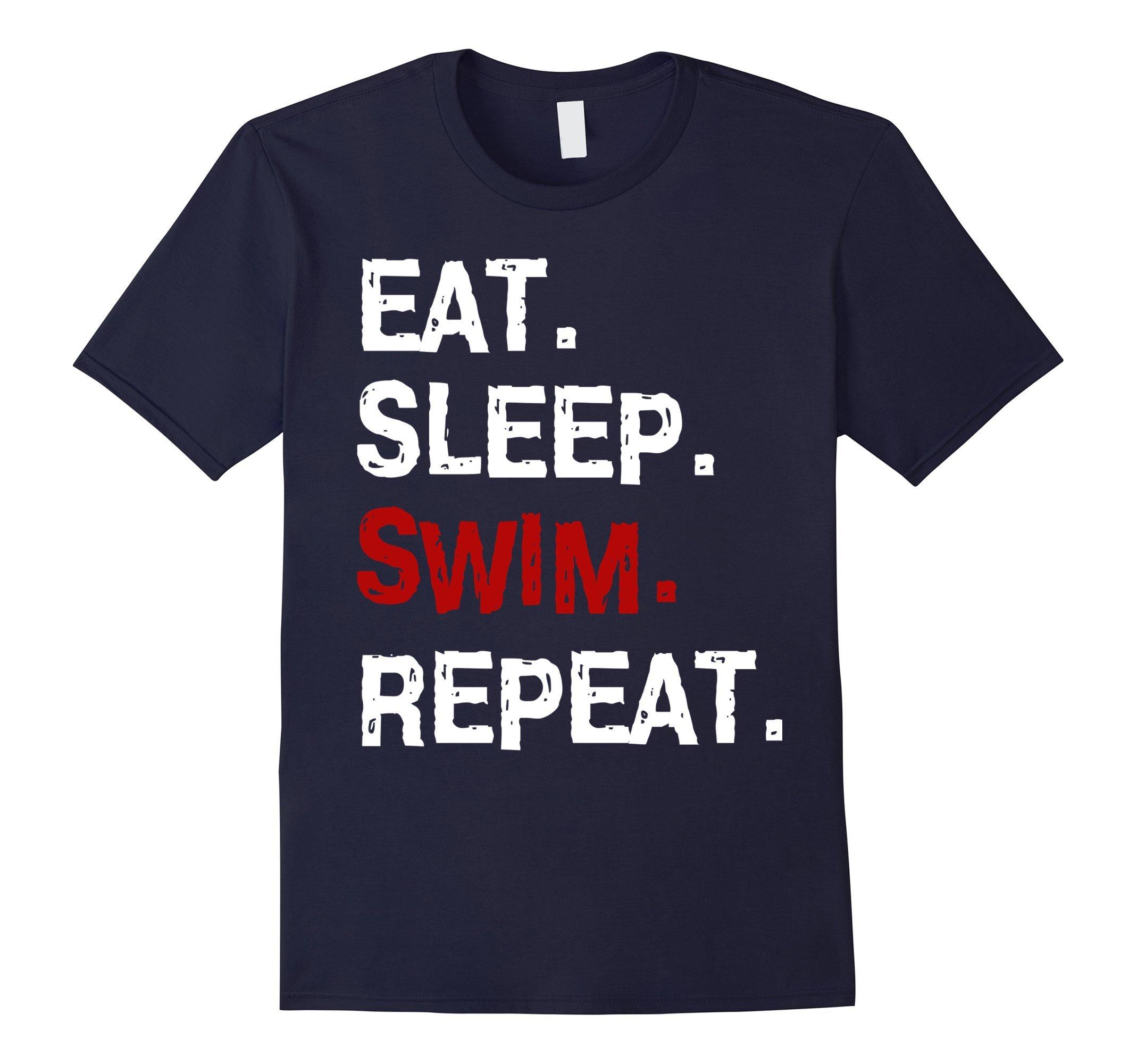 Mens Eat Sleep Swim T-Shirt for Mens Womens Swimming Boys Toddler Small Navy