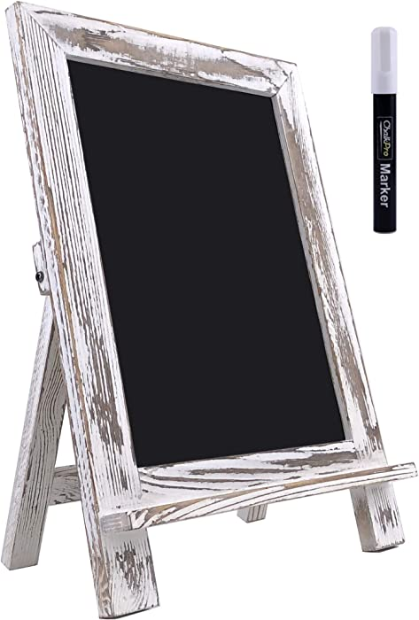 ChalkPro Wooden Framed Standing Chalkboard Sign (Rustic Whitewash) + Includes White Chalk Marker   Magnetic Non-Porous Memo Board   Décor for Kitchen, Home, Bar, Countertop, Wedding, Café, Restaurant