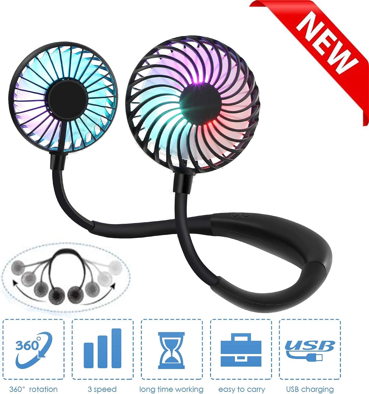 Hand Free Neck Fan Portable Fan Personal Fan Mini USB Fan Hanging Neck Sport Fan Wearable Desktop Fan, 3 Speeds, USB Rechargeable, 360 Degree Adjustment for Kids, Home Office Outdoor Travel(Black)