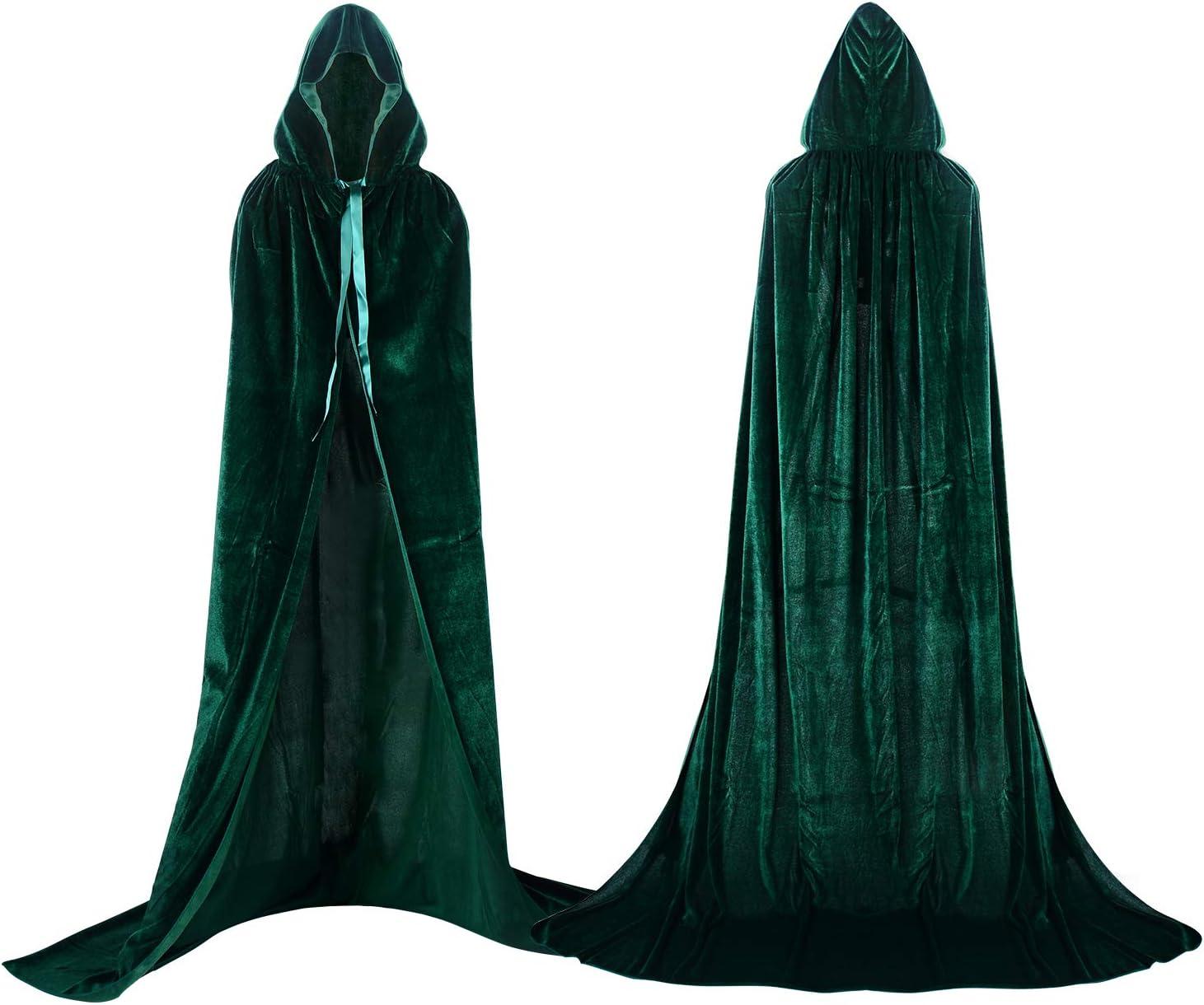Proumhang Largo Capa con Capucha Terciopelo Disfraz de Halloween para Mujeres Hombres Halloween Carnaval Navidad Fiesta Disfraces Verde
