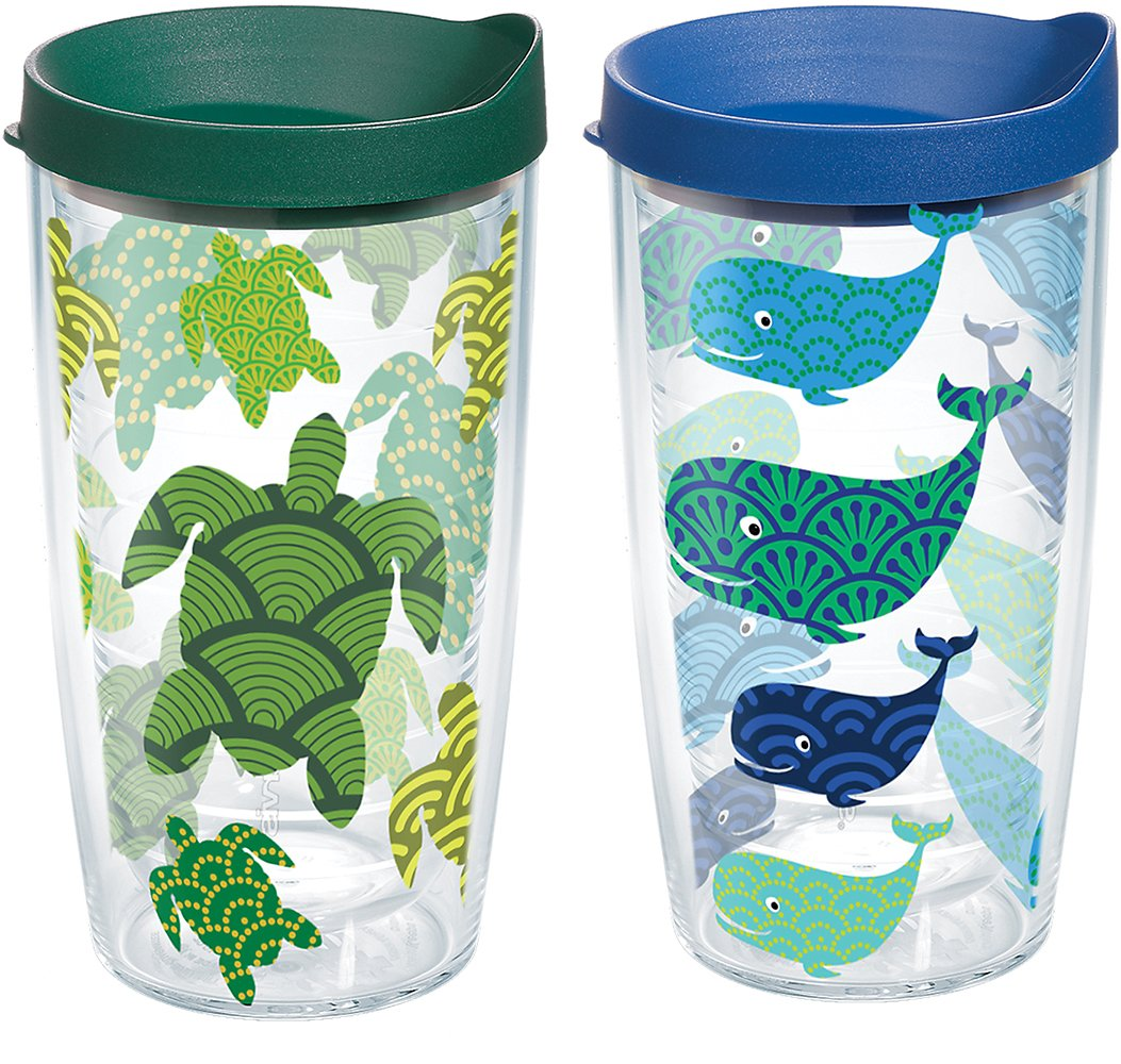 Tervis 1224739 Turtle and Whale Pattern Tumbler with Wrap and Assorted Lid 2 Pack 16oz, Clear