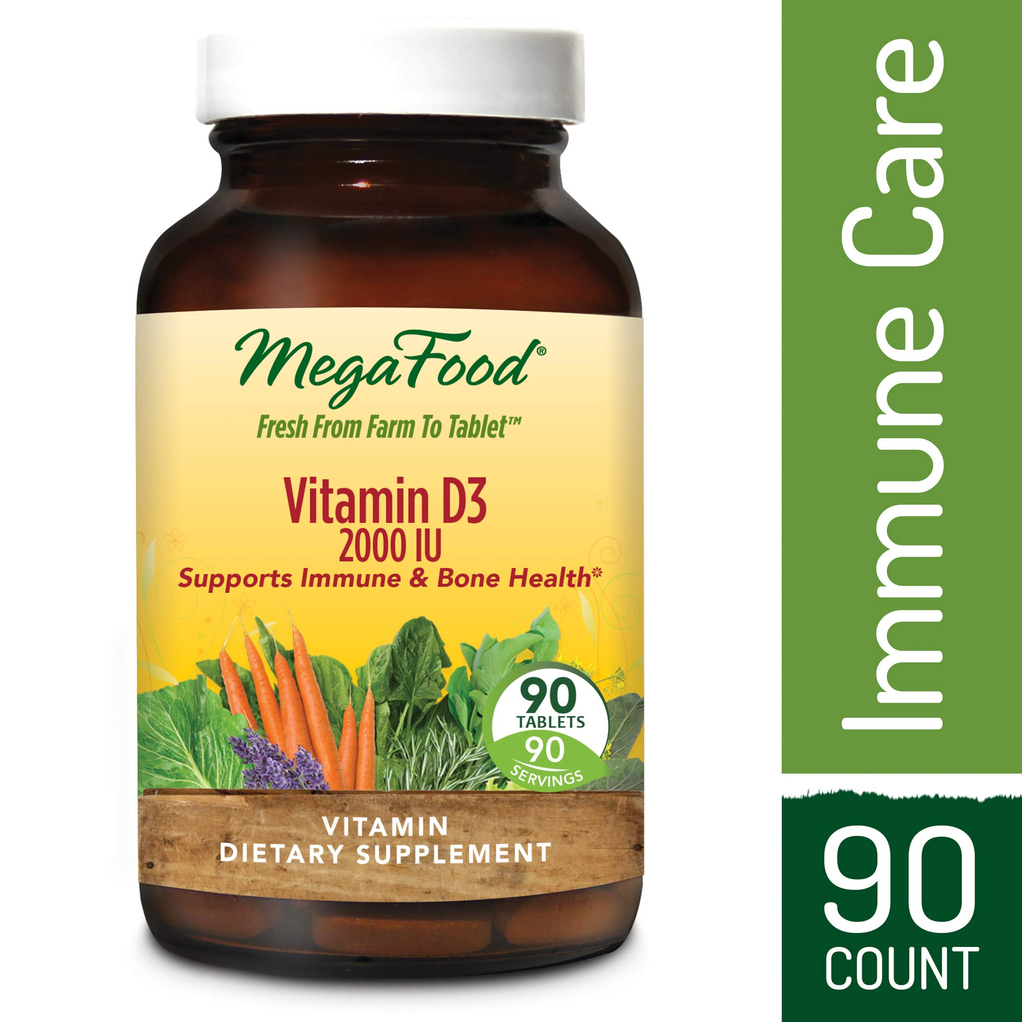 MegaFood - Vitamin D3 2000 IU, Support for Immune Health, Bone Strength, Hormone Production with Organic Herbs and Food, Vegetarian, Gluten-Free, Non-GMO, 90 Tablets (FFP)