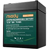 2000 Cycles 12V 6Ah Miady Lithium Iron Phosphate Battery, Rechargeable LiFePo4 Battery, Low Self-Discharge and Light…