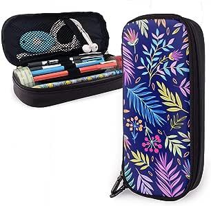 Estuche de lápices de gran capacidad Bolígrafo de gran capacidad Organizador de escritorio Práctico portabolsa con cremallera - Hoja de palma colorida