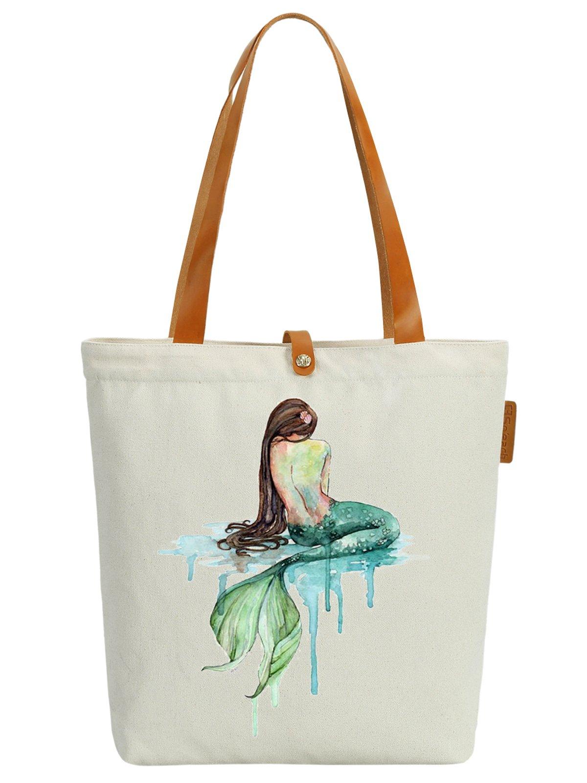 So'each Women's Mermaid Art Pattern Graphic Top Handle Canvas Tote Shoulder Bag