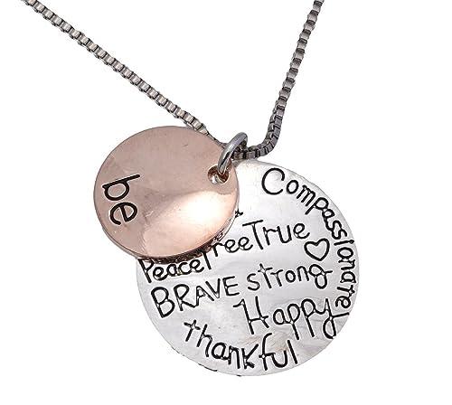 Kette mit Anhängern, Farbe: Roségold, Silber, englischsprachige Aufschrift: